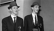 Members of the Irish Olympic team leaves for Amsterdam on the first stage of their journey to Tokyo.  Picture shows  J. Boucher-Hayes and M. Ryan, fencing..04.10.1964