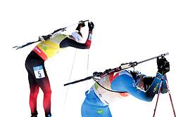 14.02.2021, Center Pokljuka, Pokljuka, SLO, IBU Weltmeisterschaften Biathlon, Sprint, Herren, im Bild jacquelin (emilien) (fra), boe (johannes thingnes) (nor) // during mens Sprint competition of IBU Biathlon World Championships at the Center Pokljuka in Pokljuka, Slovenia on 2021/02/14. EXPA Pictures © 2021, PhotoCredit: EXPA/ Pressesports/ Frederic Mons<br /> <br /> *****ATTENTION - for AUT, SLO, CRO, SRB, BIH, MAZ, POL only*****
