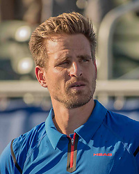 February 25, 2018 - Delray Beach, FL, US - Portrait of PETER GOJOWCZYK (Ger) at the Delray Beach Tennis Stadium where he lost in the Delray Beach Open Men's Single Finals to FRANCIS TIAFOE (US) 6-1, 6-4. (Credit Image: © Arnold Drapkin via ZUMA Wire)