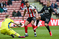 Sheffield United's Aaron Ramsdale reaches a pass before Burnley's Matej Vydra<br /> <br /> Photographer Alex Dodd/CameraSport<br /> <br /> The Premier League - Sheffield United v Burnley - Sunday 23rd May 2021 - Bramall Lane - Sheffield<br /> <br /> World Copyright © 2021 CameraSport. All rights reserved. 43 Linden Ave. Countesthorpe. Leicester. England. LE8 5PG - Tel: +44 (0) 116 277 4147 - admin@camerasport.com - www.camerasport.com