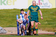 Workington Town centre Perry Singleton (3) scores a try  during the Ladbrokes Challenge Cup round 3 match between Hunslet Club Parkside and Workington Town at South Leeds Stadium, Leeds, United Kingdom on 24 February 2018. Picture by Simon Davies.