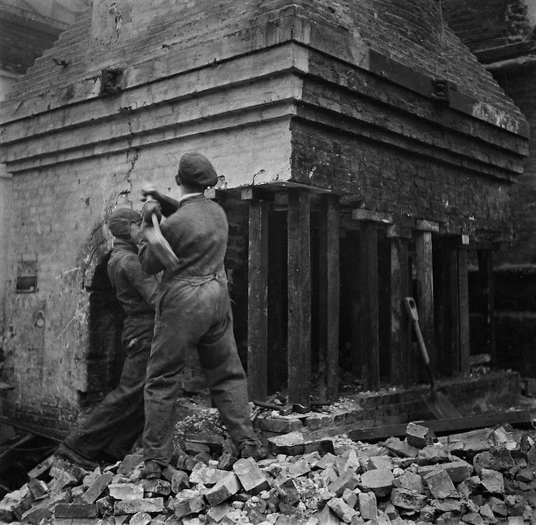 Chimney Demolishing in the Minories, London, England, 1935