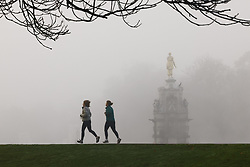 © Licensed to London News Pictures. 27/11/2020. London, UK. People exercise in a foggy  Bushy Park, south west London. Parts of the UK are experiencing freezing weather and low temperatures. Photo credit: Peter Macdiarmid/LNP