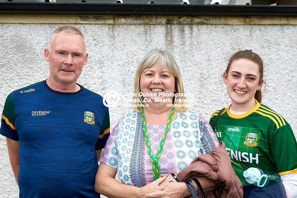 01-08-21, All Ireland Ladies SFC quarterfinal at Clones<br /> Meath v Armagh<br /> Meath supporters pictured at the game: John & Clare Lynch with Emily Davies (Summerhill)<br /> Photo: David Mullen / www.quirke.ie ©John Quirke Photography, Proudstown Road Navan. Co. Meath. 046-9079044 / 087-2579454.<br /> ISO: 200; Shutter: 1/250; Aperture: 7.1;