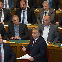 Viktor Orban (bottom R) prime minister of Hungary replies to  reactions to his speech about the Sargentini Report delivered in front of the Parliament during the Plenary session of the Hungarian Parliament in Budapest, Hungary on Sept. 17, 2018. ATTILA VOLGYI