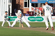 Steven Croft batting against Dieter Klein during the Specsavers County Champ Div 2 match between Leicestershire County Cricket Club and Lancashire County Cricket Club at the Fischer County Ground, Grace Road, Leicester, United Kingdom on 25 September 2019.