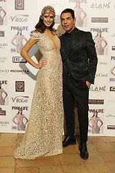 Napoli Presentation new issue of Pink Life magazine cover Raffaella Modugno wearing a dress of the designer Bruno Caruso (right)