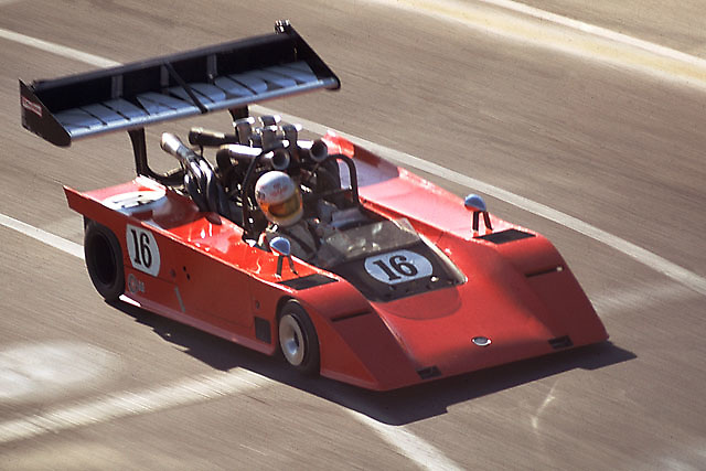 """The """"Tiny Tire"""" AVS Shadow was a startling sight, but just such excursions into unconventionality were what the """"unlimited"""" old Can-Am was all about. This is the American car's debut at Mosport, with intrepid George Follmer driving."""