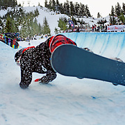 New Zealand National Snowboard Team member Benjamin Stewart misses his landing and crashes into a group of photographers during a training run at the 2009 LG Snowboard FIS World Cup at Cypress Mountain, British Columbia, on February 16th, 2009. Stewart finished 35th in a field of 70.