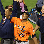 Tony Sipp, Houstron Astros, celebrates his teams 3-0 victory during the New York Yankees Vs Houston Astros, Wildcard game at Yankee Stadium, The Bronx, New York. 6th October 2015 Photo Tim Clayton for The Players Tribune