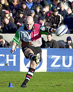 Twickenham. Surrey, UK., 23 February 2002, Zurich Premiership Rugby,  The Stoop Memorial Ground,   Harlequin's  Paul Burke, converts, Rugby ball cup, Plastic, during the, NEC Harlequins vs Gloucester Rugby,<br /> [Mandatory Credit: Peter Spurrier/Intersport Images],