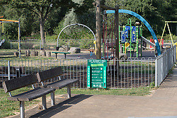 © Licensed to London News Pictures. 06/07/2018. Salisbury, UK. A children's play area remains closed in Queen Elizabeth Gardens in Salisbury town centre after couple, named locally as Dawn Sturgess, 44, and her partner Charlie Rowley, 45, were taken ill on Saturday 30th June 2018. Police have confirmed that the couple have been in contact with Novichok nerve agent. Former Russian spy Sergei Skripal and his daughter Yulia were poisoned with Novichok nerve agent in nearby Salisbury in March 2018. Photo credit: Peter Macdiarmid/LNP
