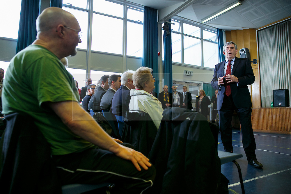 """© Licensed to London News Pictures. 20/09/2014. Fife, UK. Former Prime Minister Gordon Brown delivers a speech on impact of """"no"""" vote in Scottish referendum at Dalgety Bay Primary School in Fife, Scotland on Saturday, 20 September 2014. Photo credit : Tolga Akmen/LNP"""