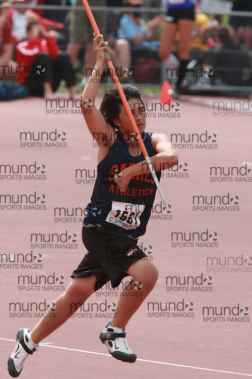 (London, Ontario}---05 June 2010) Aaron Hackney of Sandwich - Windsor competing in the junior boys javelin at the 2010 OFSAA Ontario High School Track and Field Championships in London, Ontario, June 05, 2010 . Photograph copyright Dave Chidley / Mundo Sport Images, 2010.