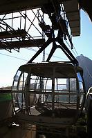 empty cable car cabin of the sugar loaf in rio de janeiro brazil