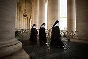 Nuns arrive for the pre-conclave mass in St. Peter's Square during the first day of conclave and the selection of the new Pope in Vatican City, March 12, 2013. Photograph by Todd Korol