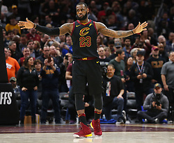 April 29, 2018 - Cleveland, OH, USA - Cleveland Cavaliers forward LeBron James tells the defense to stay back in the final seconds of the fourth quarter against the Indiana Pacers during Game 7 of the Eastern Conference First Round series on Sunday, April 29, 2018 at Quicken Loans Arena in Cleveland, Ohio. The Cavs won the game, 105-101. (Credit Image: © Leah Klafczynski/TNS via ZUMA Wire)