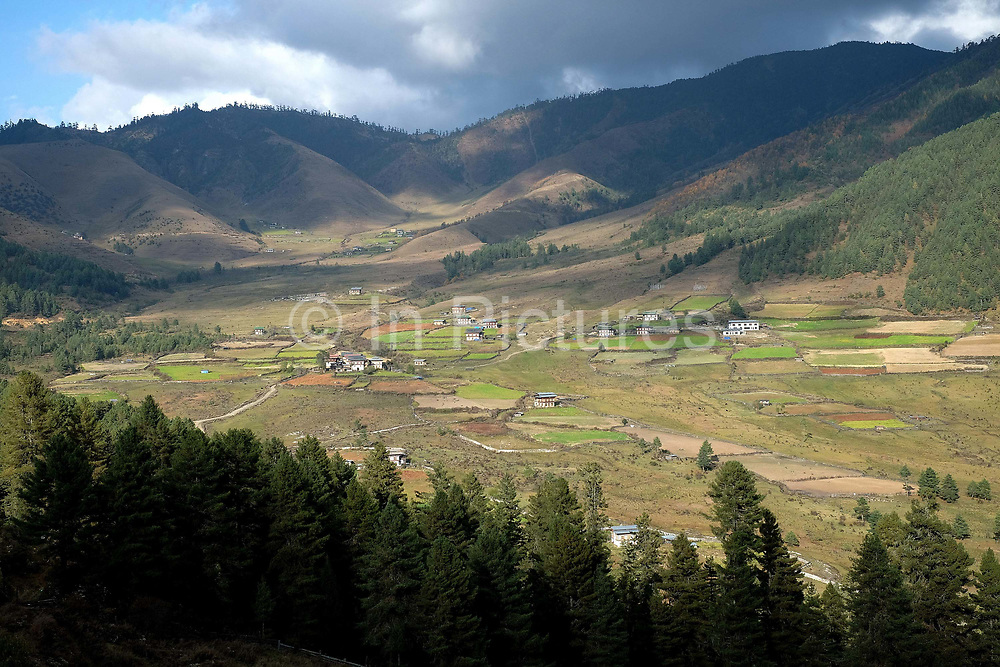 At 2900 meters above sea level, Phobjikha Valley is one of the most important wildlife preserves in Bhutan due the large flock of the rare and endangered Black-necked Cranes that overwinters there.