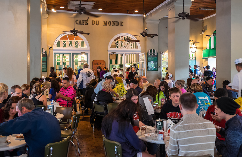 NEW ORLEANS - CIRCA FEBRUARY 2014: Interior of Famous Cafe Du Monde in New Orleans, Louisiana.