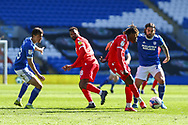 Nottingham Forest's Alex Mighten (17) under pressure from Cardiff City's Marlon Pack (21) during the EFL Sky Bet Championship match between Cardiff City and Nottingham Forest at the Cardiff City Stadium, Cardiff, Wales on 2 April 2021.