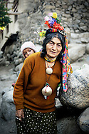 India, Ladakhh. Brokpa woman from Dha-Hanu valley. Brokpa people are thought to be descendants of Alexander The Great.