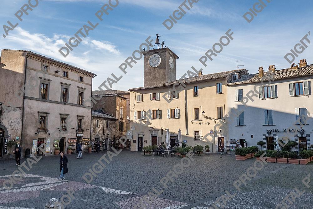 "Orvieto main square with ""Torre del Moro"".  Moro Tower. Italy, 2017."