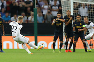 Christian Eriksen of Tottenham Hotspur takes a free kick. UEFA Champions league match, group E, Tottenham Hotspur v AS Monaco at Wembley Stadium in London on Wednesday 14th September 2016.<br /> pic by John Patrick Fletcher, Andrew Orchard sports photography.