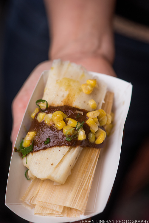 CORN (VEGETABLE), Zea mays<br />Showcase: Chilean Choclo breeding population<br />Breeder: Bill Tracy, University of Wisconsin<br />Chef: Gregory Gourdet, Departure<br />Dish: Choclo Corn, Tamale, Smoked & Fermented Chili