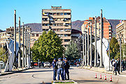 Just north of the bridge over the Iber river that splits the ethnically divided city of Mitrovica in northern Kosovo, life seems normal. Locals mill around the outdoor cafes lining the pedestrian street, drinking coffee in the warm morning sun and enjoying the day. This is a set of pictures, following the warning of the Serbian organization, Tsar Lazar's Guard, to hold a protest on October 14, 2007 - against Kosovo's independence.