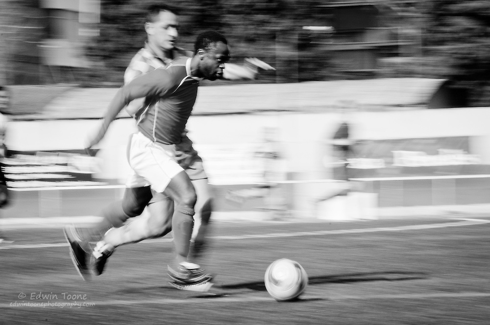 Jacinto hardly ever arrives for a game early but once he is on the field it is hard to slow him down.  He is the lead scorer on his team.