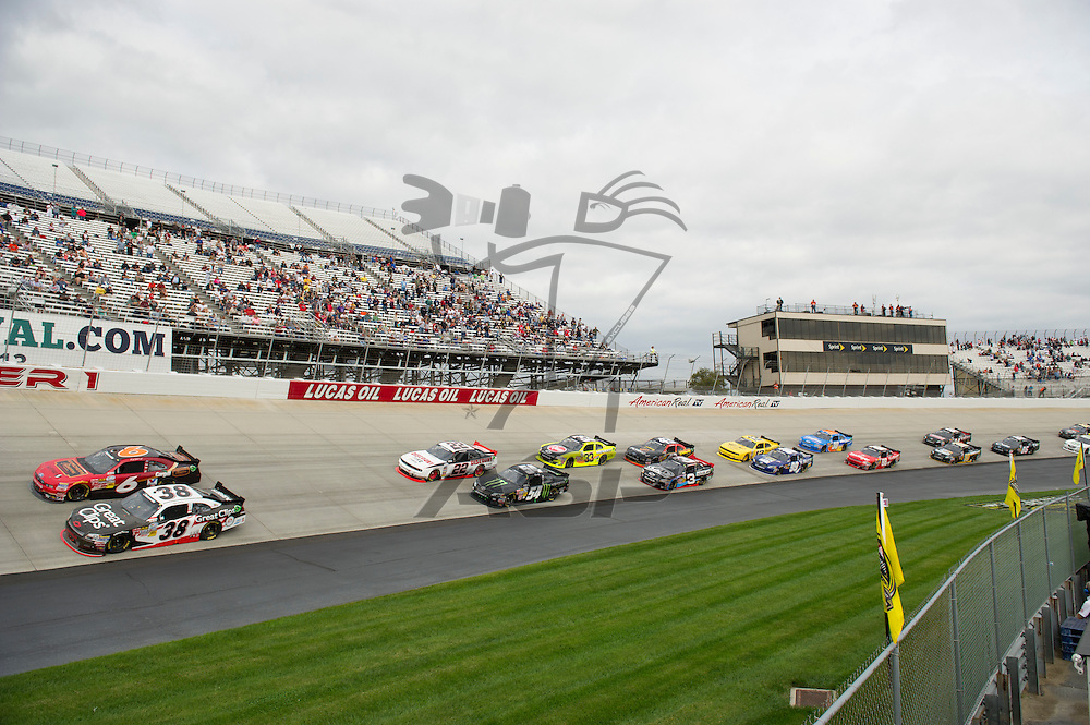 Dover, DE - SEP 29, 2012:  The NASCAR Nationwide Series Teams take to the track during qualifying for the OneMain Financial 200 at Dover International Speedway in Dover, DE.
