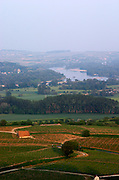 Vineyards, view of landscape and Loire river from town. Sancerre village, Loire, France