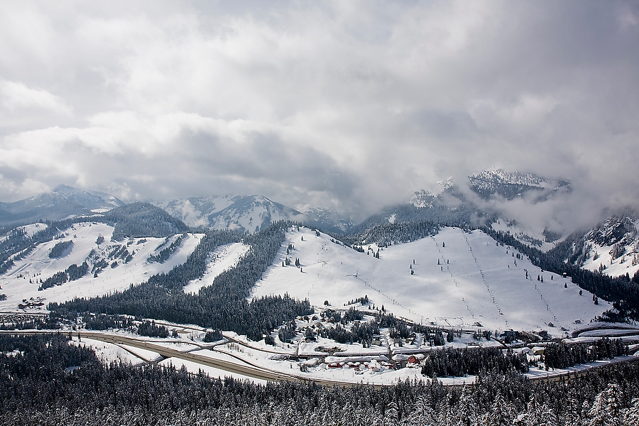 View of the Summit at Snoqualmie ski resort, a popular destination for residents of Seattle and the Puget Sound Area, at Snoqualmie Pass, Washington.