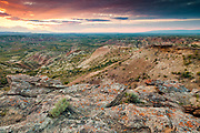 Badlands near the Devil's Backbone in the Bighorn Basin of Wyoming at sunset