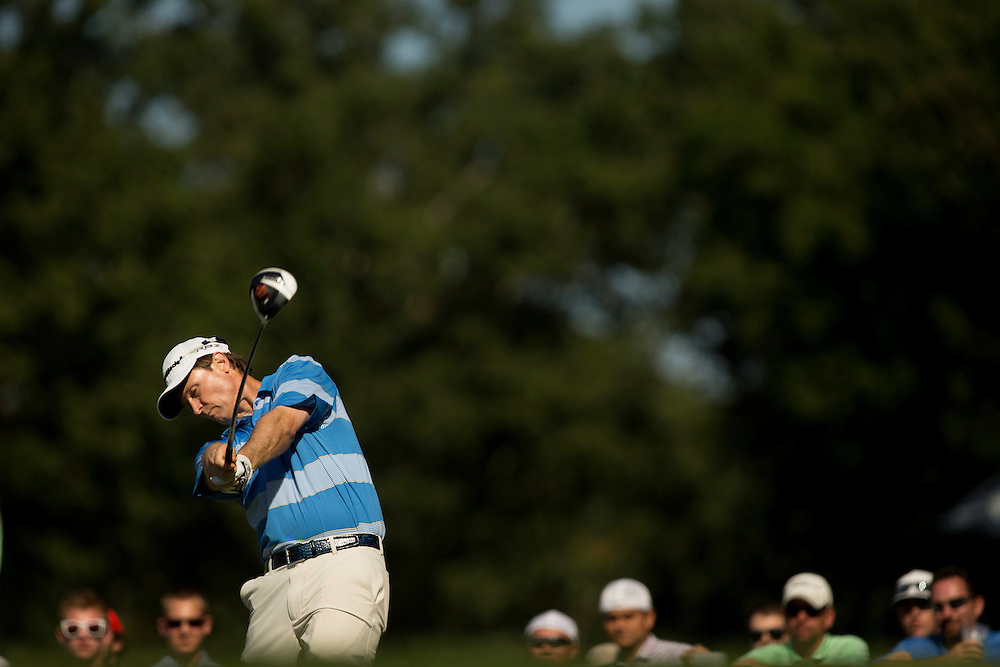 FARMINGDALE, NY - AUGUST 26:  Bob Estes plays a tee shot during the final round of the 2012 Barclays at the Black Course at Bethpage State Park in Farmingale, New York on August 26, 2012. (Photograph ©2012 Darren Carroll) *** Local Caption *** Bob Estes