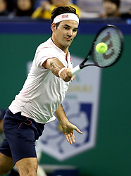 SHANGHAI, Oct. 13, 2018  Switzerland's Roger Federer hits a return during the men's singles semifinal match against Borna Coric of Croatia at 2018 ATP Shanghai Masters tennis tournament in Shanghai, east China, Oct. 13, 2018. Federer lost 0-2. (Credit Image: © Fan Jun/Xinhua via ZUMA Wire)