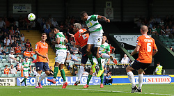 Stephen Arthurworrey of Yeovil Town scores his sides goal - Photo mandatory by-line: Harry Trump/JMP - Mobile: 07966 386802 - 22/08/15 - SPORT - FOOTBALL - Sky Bet League Two - Yeovil Town v Luton Town - Huish Park, Yeovil, England.