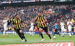 File photo dated 07-04-2019 of Watford's Troy Deeney celebrates scoring his side's second goal of the game against Wolverhampton Wanderers with team-mates during the FA Cup semi final match at Wembley Stadium, London.