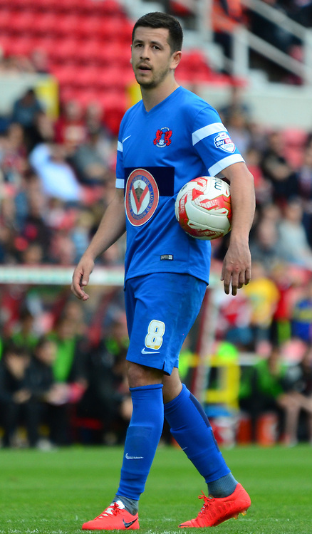 Llyod James prepares to take penalty during the Sky Bet League 1 match between Swindon Town and Leyton Orient at the County Ground, Swindon, England on 3 May 2015. Photo by Alan Franklin.