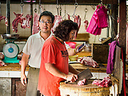 22 AUGUST 2018 - GEORGE TOWN, PENANG, MALAYSIA:  A butcher in the Campbell Street Market in George Town. It's one of the original wet markets in George Town.     PHOTO BY JACK KURTZ