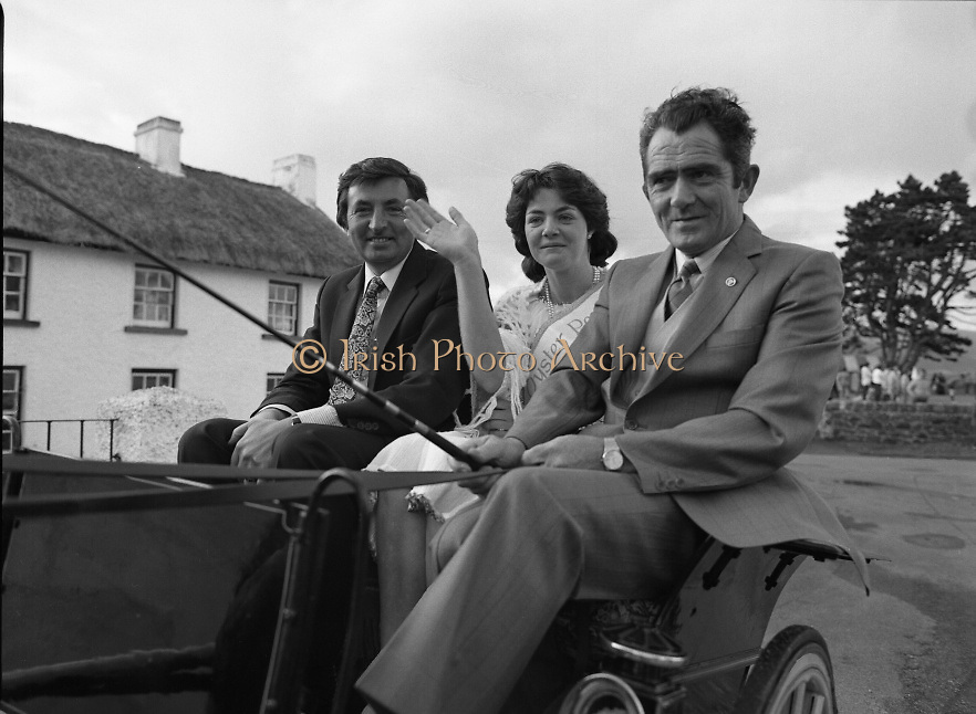 """The Carlingford Oyster Festival.1982.19.08.1982..08.19.1982.19th August 1982..Pictures and Images of the Carlingford Oyster Festival... The Minister For Fisheries and Forestry Mr Brendan Daly officially opened  The Carlingford Oyster Festival. The Chairman of the organising committee was Mr. Joe McKevitt..""""The Oyster Pearl"""" was Ms Deirdre McGrath..A horse and trap was on hand to carry Ms McGrath and Minister to the official opening ceremony. The owner of the carriage Mr Jack Moran of Omeath took the reins."""