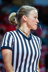 NORMAL, IL - November 20:  Referee Molly Caldwell during a college women's basketball game between the ISU Redbirds and the Huskies of Northern Illinois November 20 2019 at Redbird Arena in Normal, IL. (Photo by Alan Look)