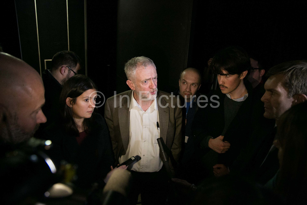 Jeremy Corbyn and Shadow Secretary of State for Energy and Climate Change Lisa Nandy speak to the media after a panel discussion with amongst others Naomi Klein.  The event was organised by The Trade Unions for energy Talks in Paris, coinciding with the COP21.