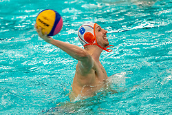 Jesse Nispeling of the Netherlands in action against Romania during the Olympic qualifying tournament. The Dutch water polo players are on the hunt for a starting ticket for the Olympic Games on February 16, 2021 in Rotterdam
