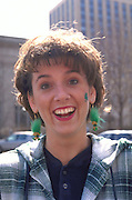 Irish woman age 35 at St Patricks day parade.  St Paul  Minnesota USA