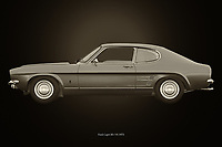 Ford Capri RS-V6 1973<br /> The 1973 Ford Capri RS-V6 is probably the most fun car your parents drove around. This Ford model was supposed to be the sports car for everyone's budget.<br /> Here a black and white version of the 1973 Ford Capri RS-V6.