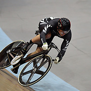Sam Webster, New Zealand, in action in the Men's Keirin at the 2012 Oceania WHK Track Cycling Championships, Invercargill, New Zealand. 21st November 2011. Photo Tim Clayton