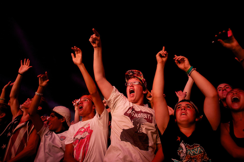 Crowds cheer while Calvin Harris performs at the Budweiser Made in America Music Festival in Philadelphia, PA