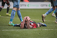 Samir Carruthers (Sheffield United) holds his head in his hands after missing an opportunity to increase the lead for Sheffield United during the EFL Sky Bet League 1 match between Sheffield Utd and Bolton Wanderers at Bramall Lane, Sheffield, England on 25 February 2017. Photo by Mark P Doherty.