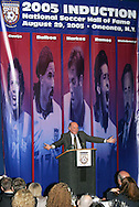 28 August 2005: Broadcaster Seamus Malin is presented with the Colin Jose Media Award during dinner. The Hall of Fame President's Dinner took place at the United States Soccer Hall of Fame in Oneonta, New York the night before the 2005 induction ceremony.